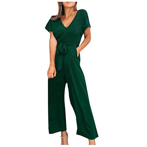 sunnymi Monos para mujer, estilo casual, de manga corta, cuello en V, con cremallera, monos largos. verde S