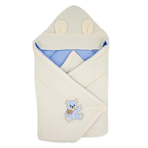 BlueberryShop Thermo Terry coperta con cappuccio per avvolgere il bambino, Sacco a pelo per neonati, Baby Shower, 78 x 78 cm, Blu