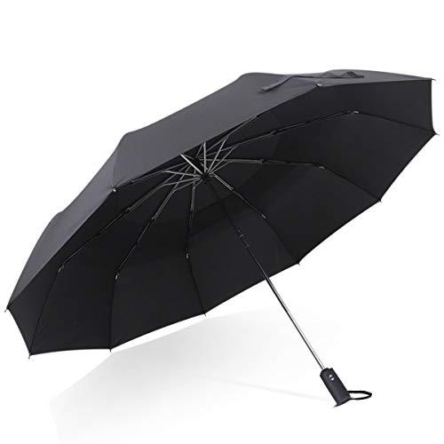 DORRISO Hombres Mujer Automático Plegable ParaguasPortátil Viajar Paraguas Dosel Doble Grande Antiviento Impermeable Unisexo Paraguas Negro