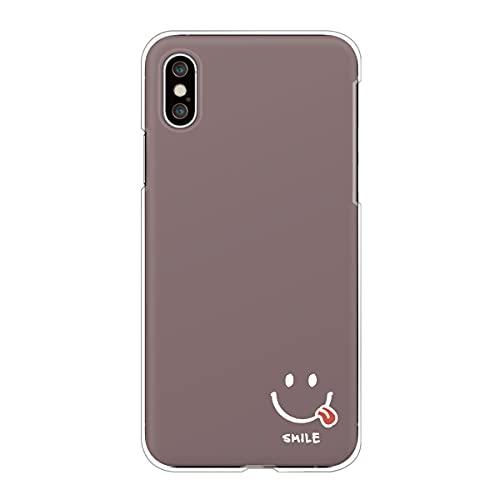 iPhone4S/4 アイフォン 対応スマホケース 【J】ブラウン にこちゃん (小) 舌出しスマイル ニコちゃんマーク くすみカラー ニュアンスカラー 大人かわいい case6284
