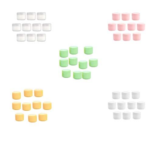 Amuzocity 50pcs Pot Cosmétique Vides Flacon,Voyage en Plastique Bocaux Stockage,Récipient Cosmétique,Maquillage Container,Crème Récipient Pot - 20g