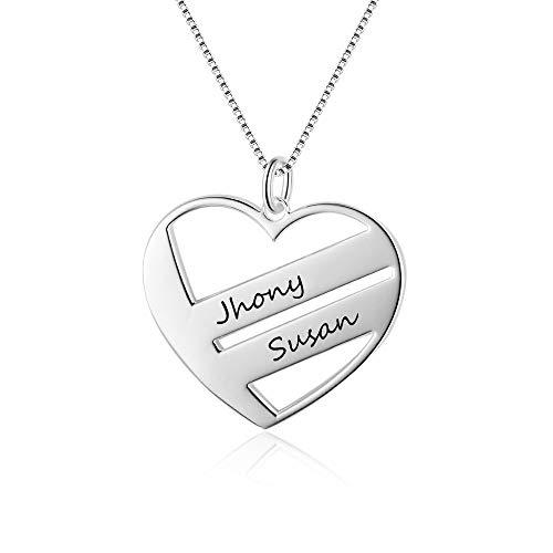 Gaosh 2 Nombre Collar para mujer con grabado personalizado Cadena de plata de ley 925 BFF Colgante en forma de corazón Collares de amistad para aniversario Cumpleaños de San Valentín