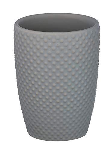 WENKO Zahnputzbecher Punto Grau - Zahnbürstenhalter für Zahnbürste und Zahnpasta, Keramik, 8 x 11 x 8 cm, Grau