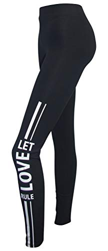 BUFFALO Leggings Gr. 32 34 schwarz weiß Print Sport Hose Stretchhose