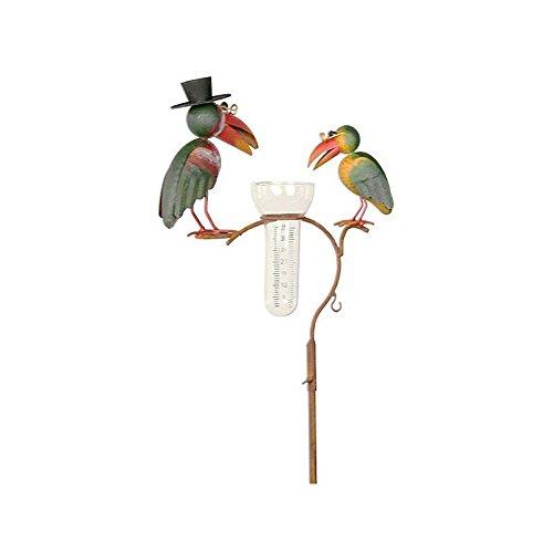 Wunderschöne Regenmesser, zum Stecken Pflanzstab Pflanze Dekoration von Garten, Motiv Raben Eisen patiniert und Rohr aus Glas 12x 30x 140cm
