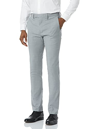 Louis Raphael LUXE Men's Slim Fit Flat Front Stretch Wool Blend Dress Pant, Light Grey, 29W x 30L