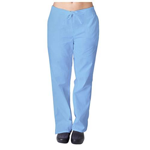 Zilosconcy Arbeitskleidung Hosen mit Tasche Pflege Set Unisex Medizin Arzt Berufsbekleidung Krankenschwester Kleidung Damen Herren Uniformen Gerade Hose Pflegekleidung HimmelblauS