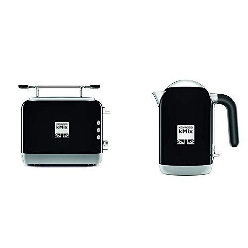 Kenwood kMix TCX751BK Toaste, 2-Schlitz-Toaster (900 W) schwarz & ZJX650BK Wasserkocher kMix 2200 Watt, Metall, 1 Liter, schwarz