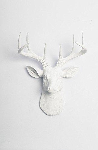 White Faux Taxidermy Templeton Deer Head Wall Decor, Mini, W...