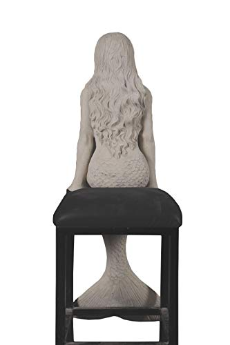 Nautical Tropical Imports Salma Pretty Mermaid Sitting by The Bay Large Sculpture Roman Stone Finish