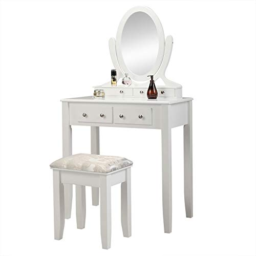 Odetina Makeup Vanity Table Set, Makeup Dressing Table White Small Vanity Table for Bedroom