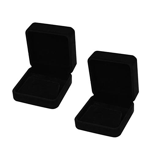 HUIMALL 2 PCS Earring Gift Boxes, Velvet earring Box Single With Lids Earring box Jewellery Boxes Black earring Boxes for earrings Jewellery Bulk Engagement Wedding Day Birthday Gifts