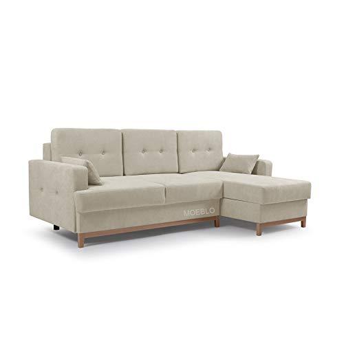 MOEBLO Ecksofa mit Schlaffunktion Eckcouch mit 2 X Bettkasten Sofa Couch L-Form Polsterecke Sophie (Beige, Ecksofa Rechts)
