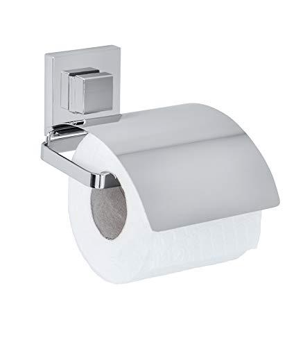 WENKO Vacuum-Loc® Toilettenpapierhalter Cover Quadro Edelstahl - WC-Rollenhalter, Edelstahl rostfrei, 13 x 11.5 x 14 cm, Glänzend