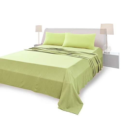 Juego de sábanas completo para cama de matrimonio, material 100% puro algodón, sábanas y 2 fundas de almohada, ropa de cama de color liso, verde claro