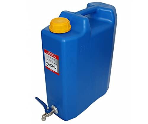 Systafex ® Kanister Wasserkanister Trinkwasser 20l mit Wasserhahn und Füllstandanzeige für LKW Camping