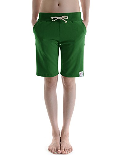 TheLees (WTTS01) Unisex Cotton Jersey Waist Elastic Jogger Training Beach Board Shorts Green 14(Tag Size 2XL)