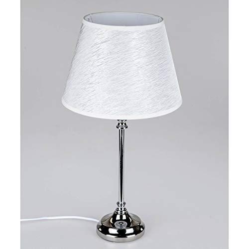formano Tischlampe Edles Design Lampenfuß Metall Schirm Silber Grau Tichleuchte Lampe