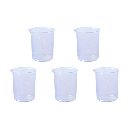 Contenedor de plástico líquido 300ml Vaso medidor Escalas Laboratorios Vaso graduado de cocina Vaso medidor volumétrico transparente Recipiente elevado Reutilizable Niveles Graduaciones Capacidad 5Pcs