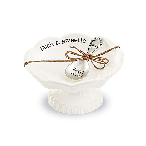 """Mud Pie 4881012S Candy Dish """"Sweet Stuff"""" with Scoop, White"""
