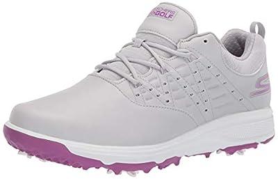 Skechers womens Pro 2 Spiked Waterproof Golf Shoe, Gray/Purple, 6.5 US