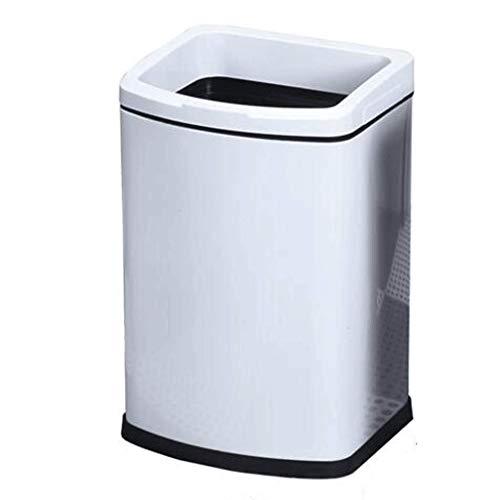 Keuken Bins Slaapkamer Badkamer Zonder Cover Druk Ring Papier Mand Dikke RVS Huishoudelijke Vierkante Prullenbak Dubbele Stabiliteit Anti-vingerafdruk WHLONG