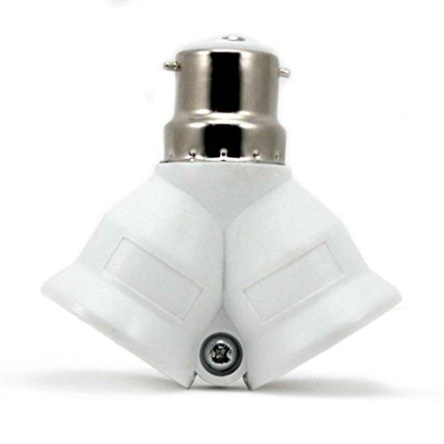 HuntGold útil B22 A 2 x E27 A sistema de enganches de casquillo de bombilla con adaptador de enchufe