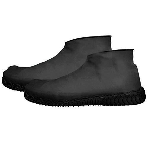 Silicone Waterproof Shoe Cover Outdoor Rainproof Hiking Skid-Proof Shoe Covers Reusable Regenschuhe Überschuhe Schuhüberzieher Fur Unisex Kinder Damen Herren rutschfeste Regen Stiefel (M, Black)