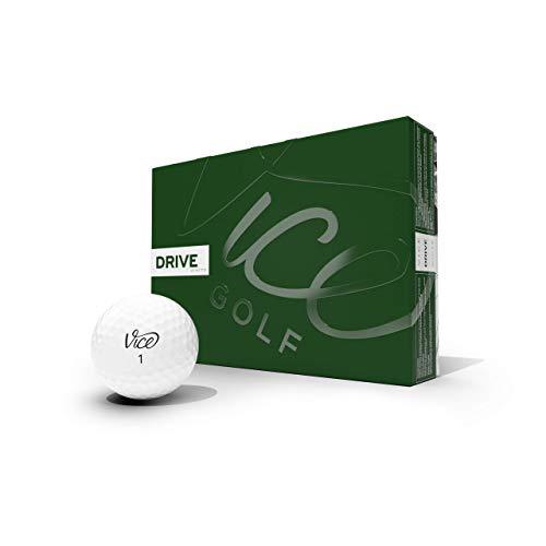 Vice Golf Drive White 2020 | 12 Golf Bälle | Eigenschaften: Extrem widerstandsfähig, mehr Länge, überragende Kontrolle, hohe Ballgeschwindigkeit | Profil: Entwickelt für Anfänger