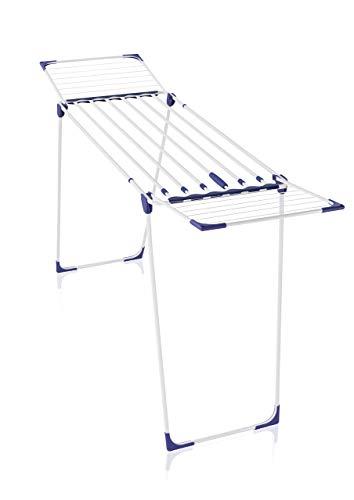 Leifheit Wäscheständer Classic Extendable 230 Solid, auf eine Breite von 184 cm ausziehbar, Standtrockner mit 23m Trockenlänge, stabiler Wäschetrockner mit extradicken XL-Stäben, weiß, blau