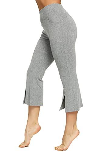 SEASUM Pantaloni 3/4 Sportivo Donna Larghi Bootcut Zampa d'Elefante Yoga Pants Corti Flare Largo Campana Aderenti Palestra Palazzo, D-Grigio L