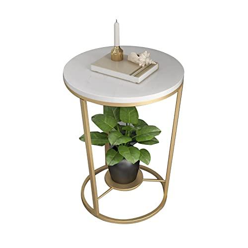 tavolino per Tavolino da caffè in Marmo di Lusso Leggero, tavolino Laterale/tavolino ad Angolo in Ferro battuto a 2 Strati, tavolino da caffè da terrazza e portafiori(Size:50x50x55cm,Color:Color Oro)