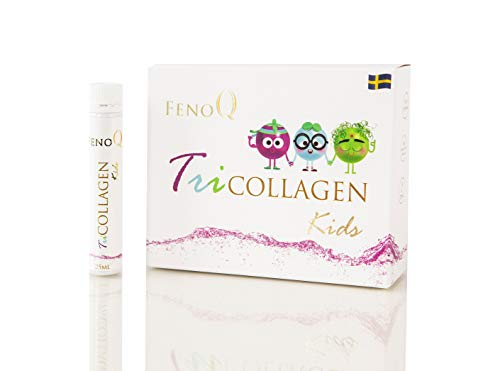 FenoQ TriCOLLAGEN Kids, 1000 mg Liquid Collagen - 14 Bottles (25 ml Each) Vitamins A, C, D3, E, B1, B2, B3, B5, B6, Biotin, Folic Acid - 200 mcg, Lutein - 10 mg and Microelements for Children