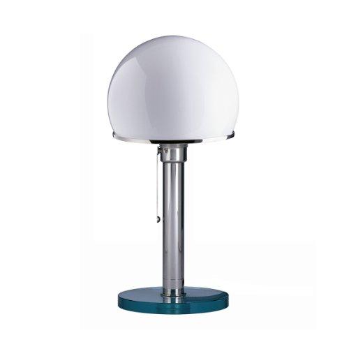 Tecnolumen Wagenfeld WG 25 GL Tischleuchte, vernickelt transparent Metall Glas Schirm weiß