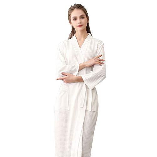 HAOXIANG Bata De Verano para Mujer, Suave Toalla De Algodón, Albornoz De Mujer De Gran Tamaño con Bolsillos Y Cinturón, Kimono De Mujer Tejido con Gofres para Ducha De Gimnasio En Casa,XL