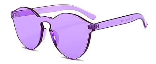ShZyywrl Gafas De Sol De Moda Unisex Gafas De Sol Púrpuras Vintage Redondas Sin Montura para Mujer Gafas De Tendencia De Color Caramelo Siamés Gafas Sin Marco
