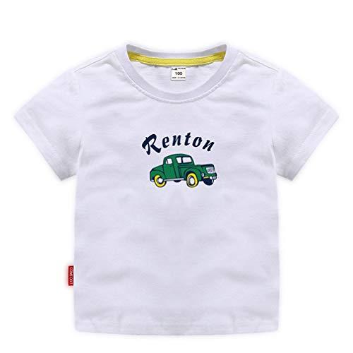 ALLAIBB Camiseta de algodón de Manga Corta con Estampado de Coche de Dibujos Animados para niños, niños, Camiseta de algodón, Top (Color : White, Size : 110)