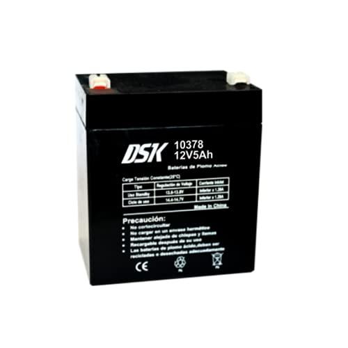 DSK 10378 - Batería Plomo AGM terminal F2 Recargable y Sellada con 12V 5Ah. Batería ideal Para Alarmas del Hogar e Industria, Juguetes Eléctricos para niños, Aparatos de Movilidad, Patinetes, Cercados