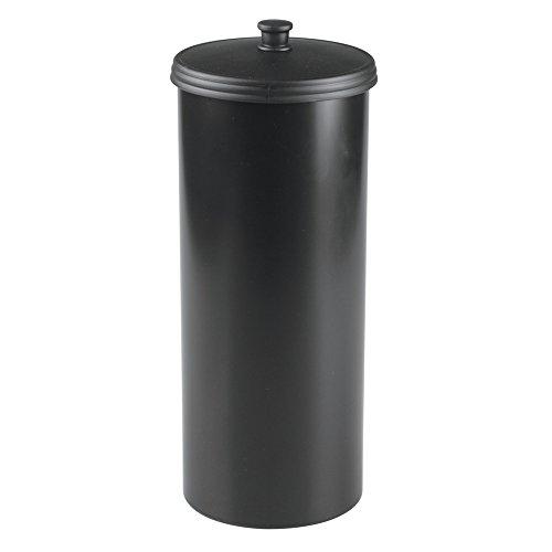 iDesign 93397EU Kent Freistehender WC-Rollenhalter für Bad, 16,002 x 16,002 x 39,37 cm, schwarz, Plastik