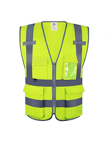 Dazonity Safety Vest with Pockets & Zipper, Reflective, for Construction(Yellow-XL)