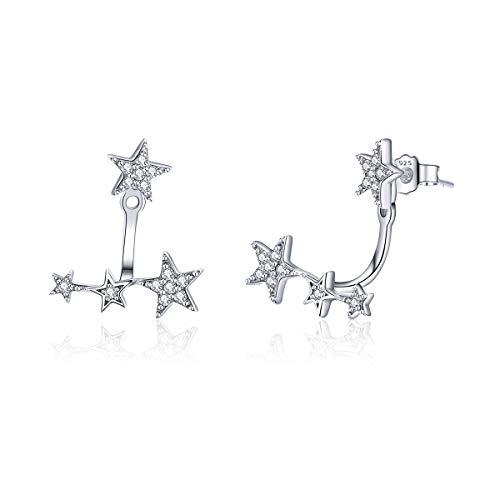 Star Earrings Sterling Silver Ear Jackets Cubic Zirconia Front Back Ear Cuffs Stud Earring for Women Girl Gifts Jewelry