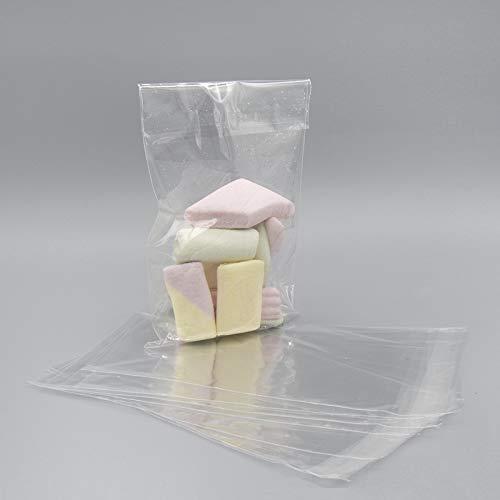 Palucart , 10 x 15+3 cm 200pz Sacchetti Bustine in Cellophane Sacchettini Plastica Trasparenti Alimentari con Striscia Adesiva per Bomboniera Dolci Alimenti Confetti Biscotti Gioielli