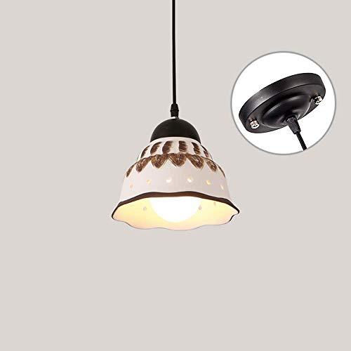 BJClight Classic 1 luz Simple American Metal Hierro Restaurante Techo Lámpara colgante Manual Cerámica Pantalla Cocina Café Ropa Bar LED Lámpara colgante ajustable Araña E27