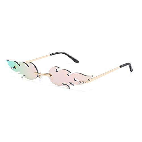NUOBESTY Feuer Flamme Brille 1Pc 16 X 14 X 2. 7 Cm Flamme Randlose Sonnenbrille Frauen Männer Sonnenbrille Party Brille Klare Metall Sonnenbrille Rahmenlose Farben - Rosa