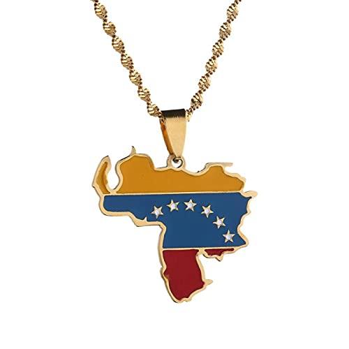 Collar con colgante de bandera de mapa de Venezuela de acero inoxidable joyería venezolana