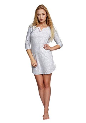 SENSIS modisches Nachthemd (Made in EU) Sleepshirt mit praktischen 3/4-Ärmeln aus Baumwolle, Hellgrau mit Rüschen, Gr. S (36)