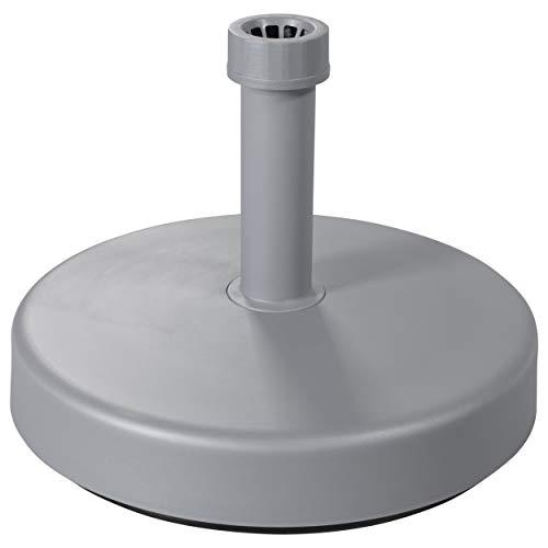 Doppler Leichter Füllsockel 25 l – Für Sonnenschirme bis ca. 200 cm – Mit Sand und Wasser befüllbar – Silber