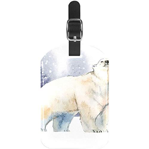 Etiquetas de Equipaje de Piel de Oso Polar en la Nieve para Maleta de Viaje, 1 Paquete