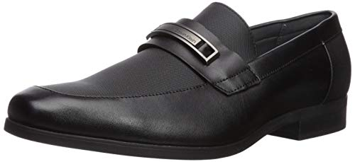 Calvin Klein Men's Jameson Slip-On Loafer, Black Leather, 10.5 Medium US