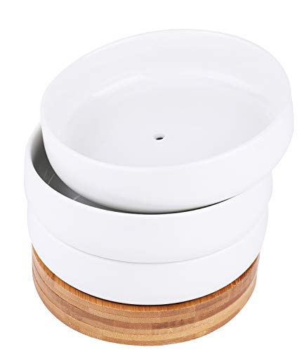 Lawei 3 Pack 6 inch Round Succulent Cactus Planter Pots with Drainage Bamboo Tray - Garden Ceramic...